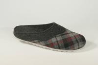 Wollfilzclogs anthrazit/karo mit wechselbarem Fußbett