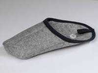 Überpantoffel - genäht, Wolle grau