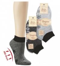 ABS-Vollplüsch-Socken mit Schafwolle, Super-Qualität, graumeliert