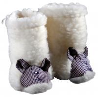 Saling Baby-Stiefelchen Wollflor mit gesticktem Gesicht