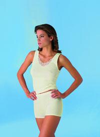 Damenachselhemd Ätzmotiv + Flachrand -con-ta- Angora/Baumwolle
